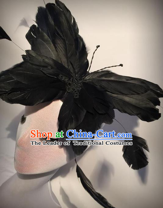 Top Grade Chinese Theatrical Luxury Headdress Ornamental Black Butterfly Hair Clasp, Halloween Fancy Ball Ceremonial Occasions Handmade Feather Hair Accessories for Women