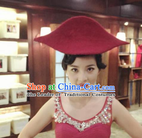 Top Grade Chinese Theatrical Luxury Headdress Ornamental Red Pirate Hat, Halloween Fancy Ball Ceremonial Occasions Handmade Sea Captain Hat for Women