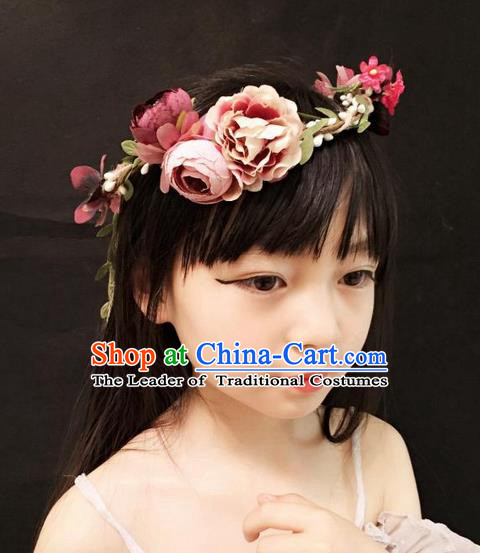 Top Grade Chinese Theatrical Headdress Ornamental Pink Flower Hair Clasp, Halloween Fancy Ball Ceremonial Occasions Handmade Headband for Women