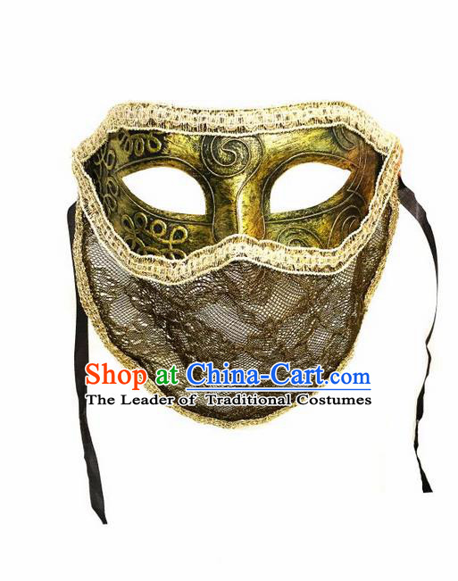 Top Grade Chinese Theatrical Headdress Ornamental Golden Mask, Halloween Fancy Ball Ceremonial Occasions Handmade Punk Face Mask for Men