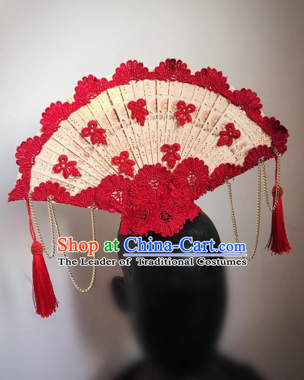 Top Grade Chinese Theatrical Headdress Ornamental Asian Headpiece Red Flowers Floral, Halloween Fancy Ball Ceremonial Occasions Handmade Manchu Headwear for Women