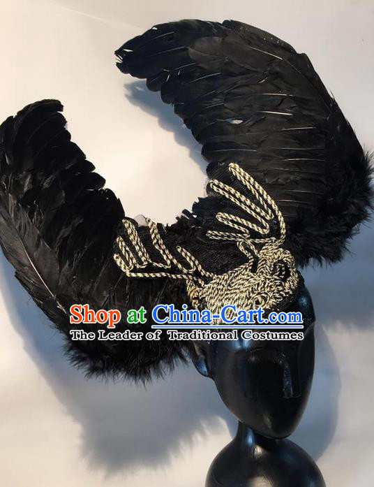 Top Grade Chinese Theatrical Headdress Traditional Ornamental Black Feather Headwear, Brazilian Carnival Halloween Occasions Handmade Deluxe Headpiece for Women