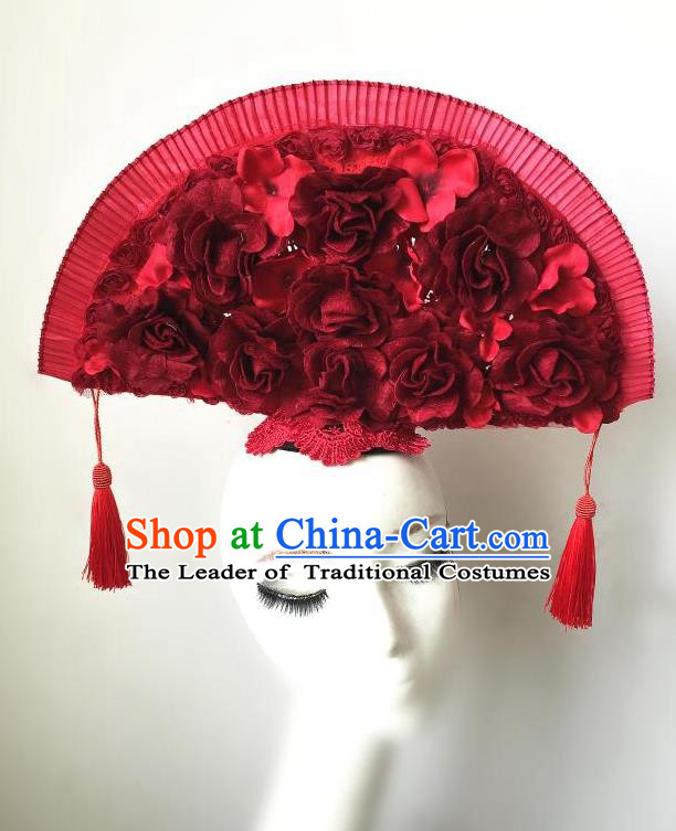 Top Grade Chinese Theatrical Headdress Ornamental Asian Headpiece Red Fanshaped Floral Hair Accessories, Halloween Fancy Ball Ceremonial Occasions Handmade Headwear for Women