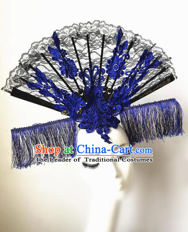 Top Grade Chinese Theatrical Headdress Ornamental Asian Headpiece Blue Tassel Fanshaped Floral Hair Accessories, Halloween Fancy Ball Ceremonial Occasions Handmade Headwear for Women