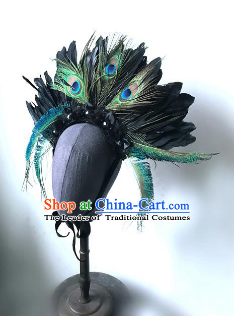 Top Grade Chinese Theatrical Headdress Ornamental Asian Peacock Feathers Hair Accessories, Halloween Fancy Ball Ceremonial Occasions Handmade Headwear for Women