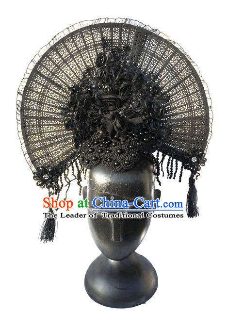 Top Grade Miami Deluxe Asian Chinese Black Fan Lace Hair Accessories, Halloween Brazilian Carnival Occasions Model Show Handmade Hair Clasp Headwear for Women