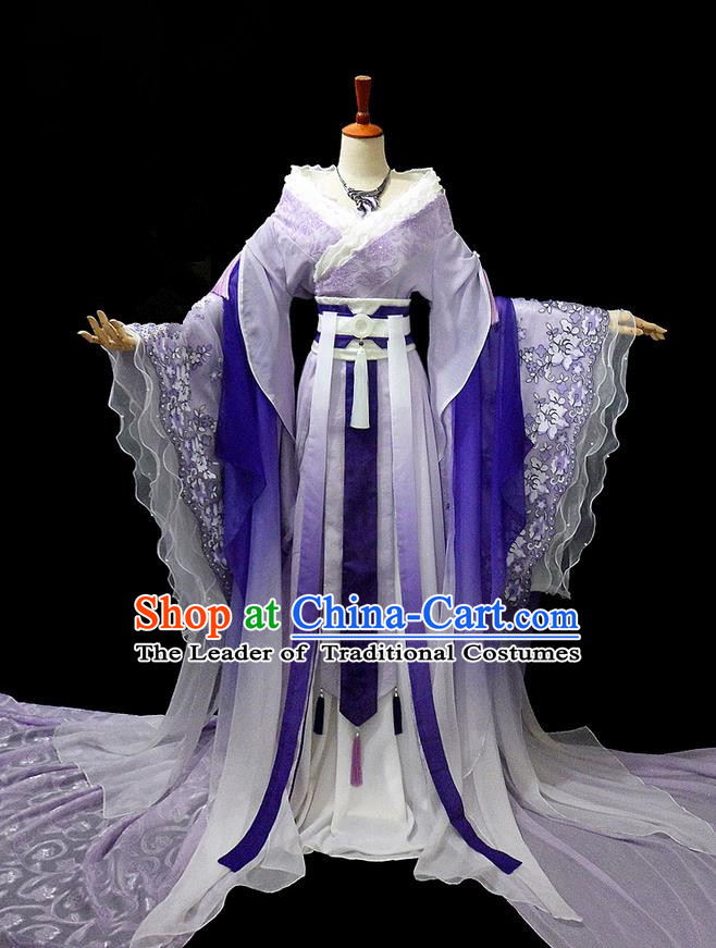 Traditional Ancient Chinese Purple Imperial Concubine Costume, Chinese Tang Dynasty Imperial Consort Fairy Dress Hanfu Embroidered Clothing for Women