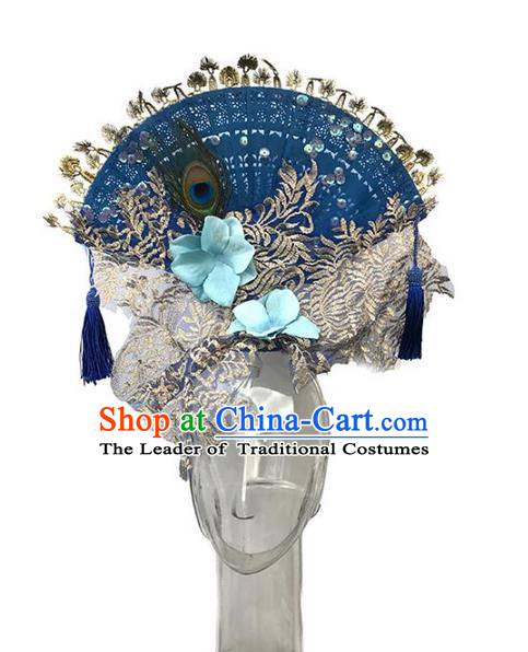 Top Grade Asian China Fan Embroidery Hair Accessories, Traditional China Manchu Princess Flowers Floral Headdress Occasions Handmade Blue Headwear for Women