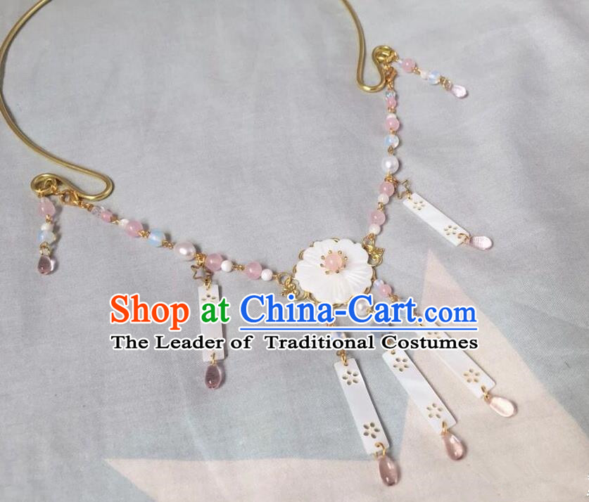 Asian Chinese Traditional Headdress Pink Tassel Necklace, China Ancient Handmade Bride Hanfu Collar Necklet for Women