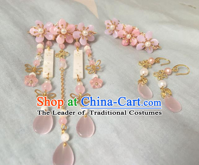 Asian Chinese Traditional Headdress Pink Jade Hair Accessories Hairpins, China Ancient Handmade Bride Hanfu Tassel Step Shake Headwear for Women