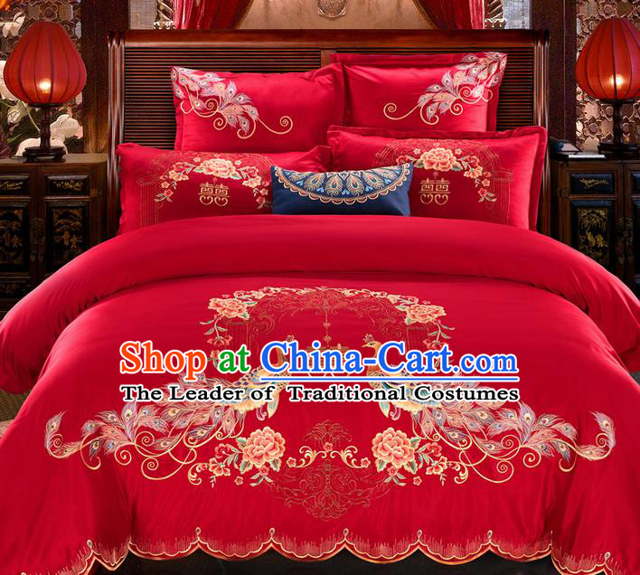 Traditional Asian Chinese Wedding Palace Qulit Cover Bedding Sheet Seven-piece Suit, Embroidered Phoenix Peony Cotton Duvet Cover Textile Bedding Complete Set