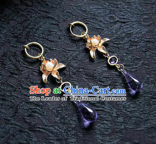 Top Grade Handmade Traditional China Accessories Earrings, Ancient Chinese Hanfu Purple Crystal Eardrop for Women