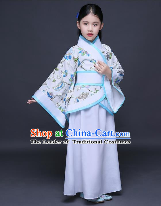 Traditional Ancient Chinese Imperial Princess Embroidery Costume, Children Elegant Hanfu Clothing Chinese Han Dynasty Blue Curve Bottom Dress Clothing for Kids