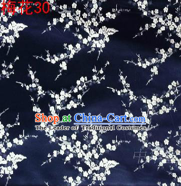 Asian Chinese Traditional Embroidery White Plum Blossom Navy Silk Fabric, Top Grade Brocade Embroidered Tang Suit Hanfu Dress Fabric Cheongsam Material