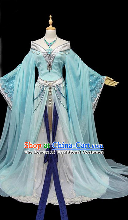 Traditional Ancient Chinese Imperial Concubine Embroidered Blue Costume, Chinese Tang Dynasty Princess Dress Hanfu Clothing for Women