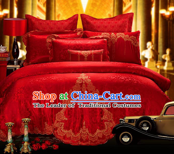 Traditional Asian Chinese Style Wedding Article Embroidery Jacquard Weave Satin Drill Bedding Sheet Complete Set, Duvet Cover Red Textile Bedding Six-piece Suit