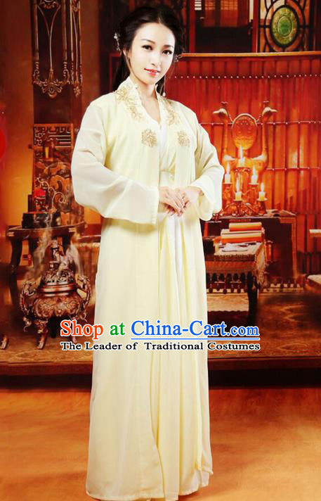 Traditional Asian Chinese Ancient Swordswoman Costume, China Elegant Hanfu Clothing Tang Dynasty Palace Princess Fairy Yellow Dress Clothing for Women