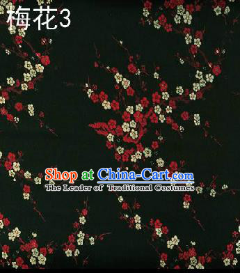 Asian Chinese Traditional Embroidery Red Plum Blossom Black Silk Fabric, Top Grade Brocade Embroidered Tang Suit Hanfu Dress Fabric Cheongsam Cloth Material