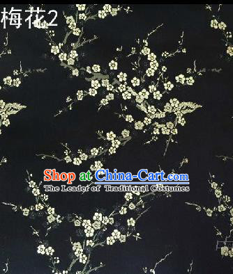 Asian Chinese Traditional Embroidery White Plum Blossom Black Silk Fabric, Top Grade Brocade Embroidered Tang Suit Hanfu Dress Fabric Cheongsam Cloth Material