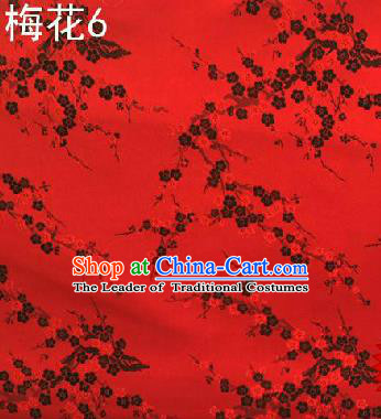 Asian Chinese Traditional Embroidery Black Plum Blossom Red Silk Fabric, Top Grade Brocade Embroidered Tang Suit Hanfu Dress Fabric Cheongsam Cloth Material