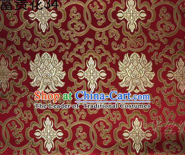 Asian Chinese Traditional Golden Riches and Honour Flowers Red Embroidered Silk Fabric, Top Grade Arhat Bed Brocade Satin Tang Suit Hanfu Dress Fabric Cheongsam Cloth Material