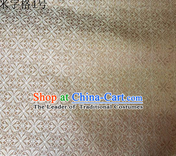 Asian Chinese Traditional Embroidery Intersected Figure Light Golden Satin Silk Fabric, Top Grade Brocade Tang Suit Hanfu Dress Fabric Cheongsam Mattress Cloth Material