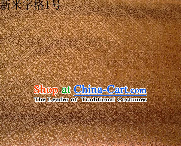 Asian Chinese Traditional Embroidery Intersected Figure Golden Satin Silk Fabric, Top Grade Brocade Tang Suit Hanfu Dress Fabric Cheongsam Mattress Cloth Material