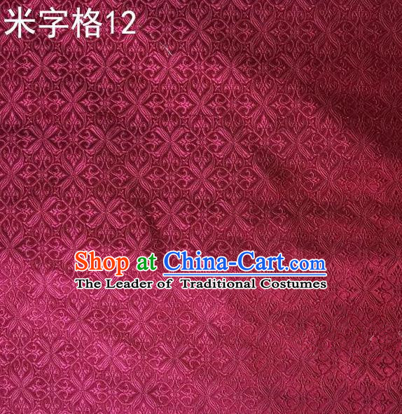 Asian Chinese Traditional Embroidery Intersected Figure Wine Red Satin Silk Fabric, Top Grade Brocade Tang Suit Hanfu Dress Fabric Cheongsam Mattress Cloth Material