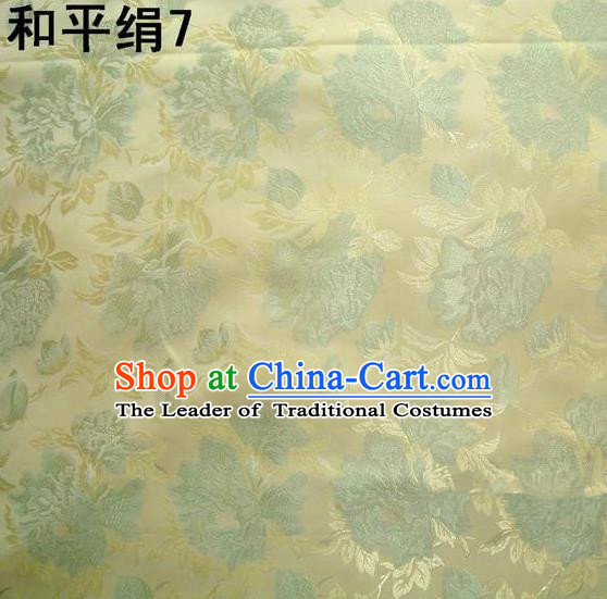 Asian Chinese Traditional Embroidered Flowers Golden Silk Fabric, Top Grade Arhat Bed Brocade Tang Suit Hanfu Dress Fabric Cheongsam Cloth Material