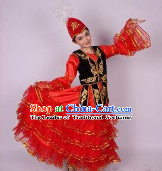 Traditional Chinese Uyghur Nationality Dance Costume, Folk Dance Ethnic Clothing, Chinese Minority Nationality Uigurian Dance Red Dress for Women