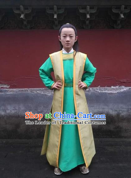Traditional Asian Chinese Ancient Song Dynasty Little Prince Costume, China Elegant Hanfu Clothing Nobility Childe Scholar Clothing for Kids