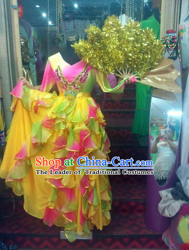 Chinese Classic Stage Performance Dance Costumes, Opening Dance Competition Yellow Dress, Classic Big Swing Dance Clothing for Women