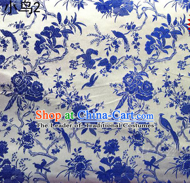 Asian Chinese Traditional Embroidery Magpie Plum Blossom Satin White Silk Fabric, Top Grade Brocade Tang Suit Hanfu Full Dress Fabric Cheongsam Cloth Material