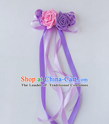 Top Grade Wedding Accessories Decoration, China Style Wedding Limousine Satin Bowknot Lilac Flowers Bride Long Ribbon Garlands