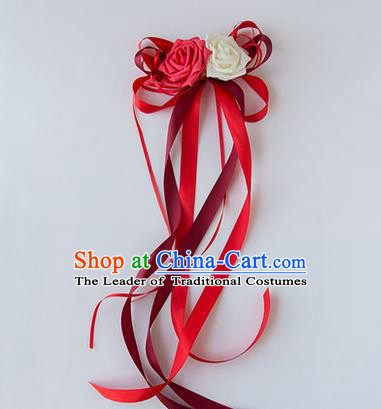Top Grade Wedding Accessories Decoration, China Style Wedding Limousine Satin Bowknot Red Flowers Bride Long Ribbon Garlands