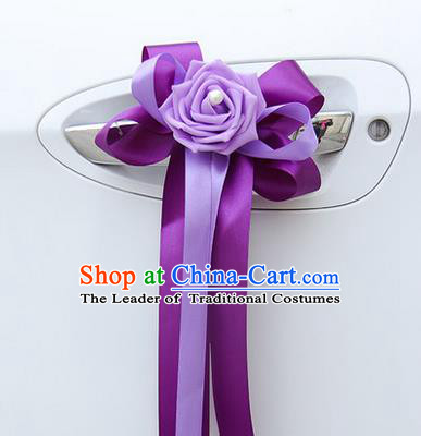 Top Grade Wedding Accessories Decoration, China Style Wedding Limousine Bowknot Purple Flowers Bride Ribbon Garlands