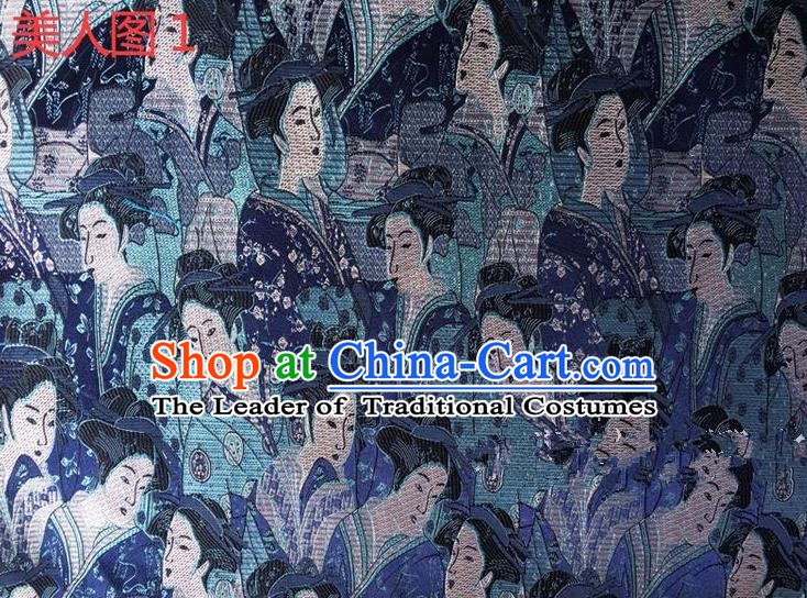 Asian Chinese Traditional Handmade Printing Portrait of a Lady Silk Fabric, Top Grade Nanjing Brocade Tang Suit Hanfu Blue Fabric Cheongsam Cloth Material