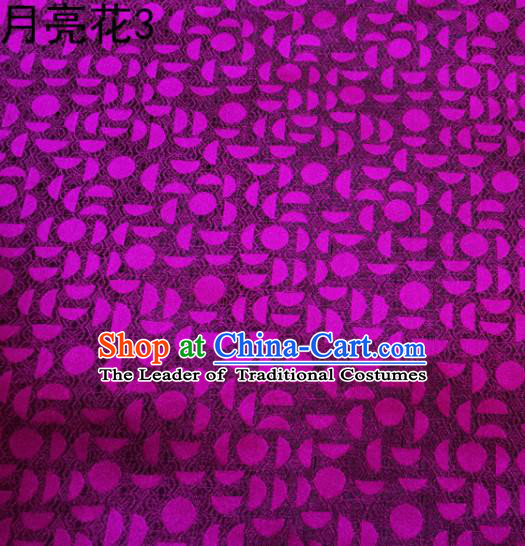 Asian Chinese Traditional Handmade Embroidery Moon Flowers Satin Silk Fabric, Top Grade Nanjing Brocade Tang Suit Hanfu Fabric Cheongsam Purple Cloth Material