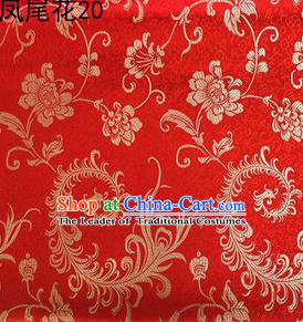 Traditional Asian Chinese Handmade Embroidery Golden Ombre Peony Flowers Satin Red Silk Fabric, Top Grade Nanjing Brocade Tang Suit Hanfu Clothing Fabric Cheongsam Cloth Material