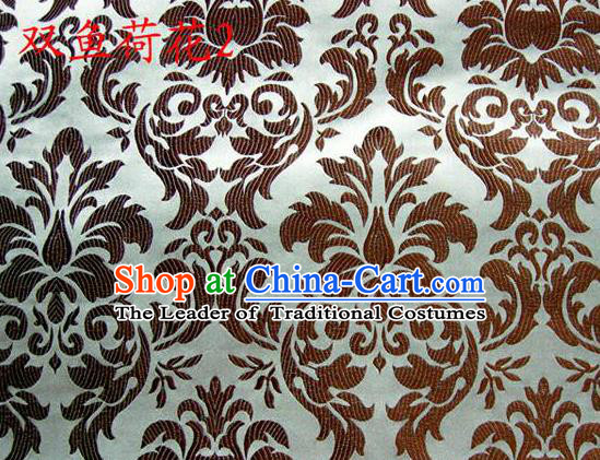 Traditional Asian Chinese Handmade Embroidery Brown Lotus Flowers Fishes Satin Silk Fabric, Top Grade Nanjing Brocade Tang Suit Hanfu Wedding Tibetan Clothing Fabric Cheongsam Cloth Material