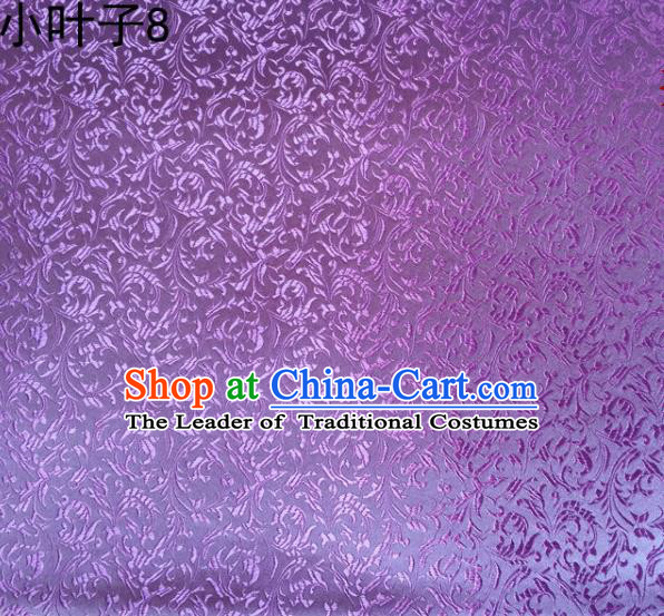 Traditional Asian Chinese Handmade Embroidery Wheat Leaf Satin Silk Fabric, Top Grade Nanjing Lilac Brocade Tang Suit Hanfu Clothing Fabric Cheongsam Cloth Material