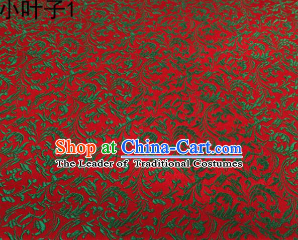 Traditional Asian Chinese Handmade Embroidery Green Wheat Leaf Satin Silk Fabric, Top Grade Nanjing Red Brocade Tang Suit Hanfu Clothing Fabric Cheongsam Cloth Material