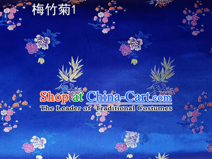 Traditional Asian Chinese Handmade Embroidery Bamboo Chrysanthemum Satin Tang Suit Blue Silk Fabric, Top Grade Nanjing Brocade Ancient Costume Hanfu Clothing Fabric Cheongsam Cloth Material
