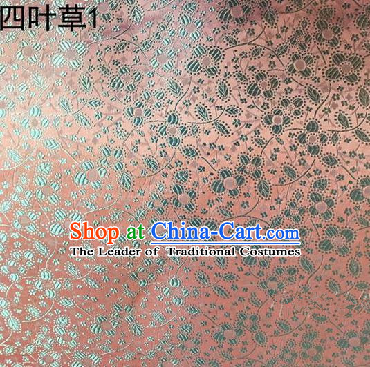 Traditional Asian Chinese Handmade Embroidery Clover Silk Satin Tang Suit Light Pink Fabric, Nanjing Brocade Ancient Costume Hanfu Cheongsam Cloth Material