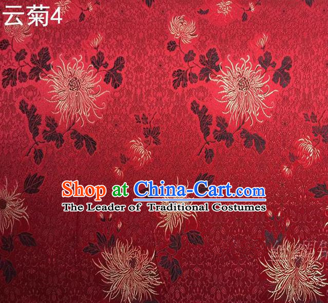 Traditional Asian Chinese Handmade Jacquard Weave Embroidery Chrysanthemum Satin Tang Suit Red Silk Fabric, Top Grade Nanjing Brocade Ancient Costume Hanfu Clothing Fabric Cheongsam Cloth Material