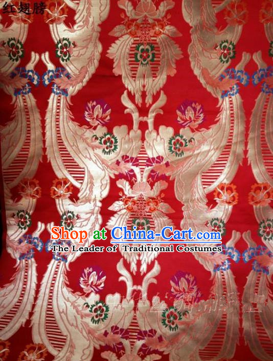 Traditional Asian Chinese Handmade Embroidery Flowers Satin Xiuhe Suit Red Silk Fabric, Top Grade Nanjing Brocade Ancient Wedding Costume Hanfu Clothing Cheongsam Cloth Material