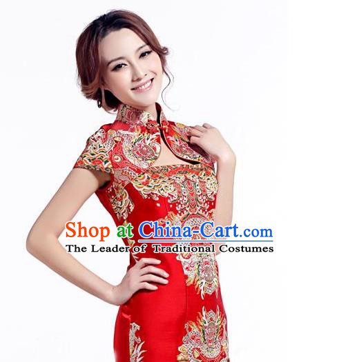 Traditional Asian Chinese Handmade Embroidery Dragons Satin Xiuhe Suit Red Silk Fabric, Top Grade Nanjing Brocade Ancient Wedding Costume Hanfu Clothing Cheongsam Cloth Material