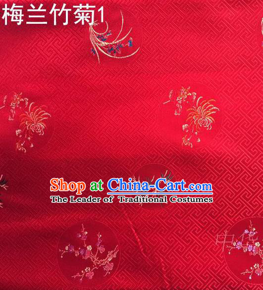 Traditional Asian Chinese Handmade Printing Plum Blossoms Orchid Bamboo and Chrysanthemum Satin Tang Suit Red Fabric, Nanjing Brocade Ancient Costume Hanfu Cheongsam Cloth Material