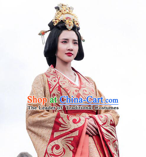 Asian Chinese Traditional Three Kingdoms Bride Wedding Costume and Headpiece Complete Set, The Advisors Alliance China Elegant Hanfu Princess Embroidery Bottom Drawer Dress