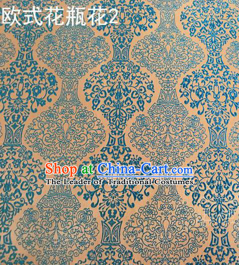 Traditional Asian Chinese Handmade Embroidery Blue Vase Silk Satin Tang Suit Fabric, Nanjing Brocade Ancient Costume Hanfu Cheongsam Cloth Material